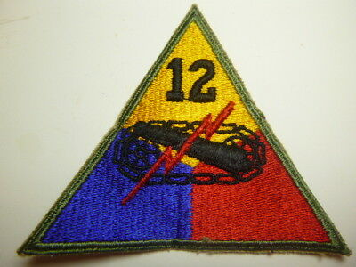 A   WW 2 U S Army  12th Armored Division   Cut Edge Snow Back Patch