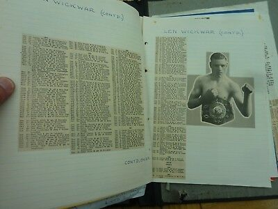 LARGE SELF PRODUCED A- Z FILE OF BOXERS FIGHT RECORDS 1930s - 1960s