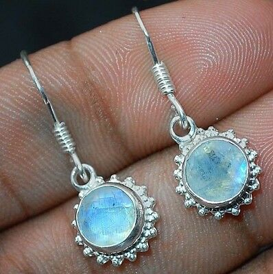 "Rainbow Moonstone 925 Solid Sterling Silver Earrings Jewelry 1 1/5"" Long C1-8"