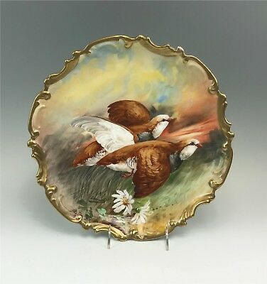 Signed Coronet Limoges France Hand Painted Game Bird Wall Plaque ~ Pair Grouse