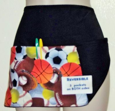 Black reversible ALL SPORTS waitress server waist apron 3 pockets