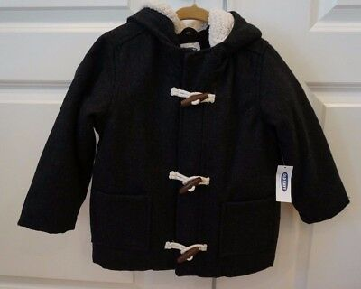 NEW Old Navy Toddler Boys Charcoal Gray Hooded Toggle Coat Size: 3T So Cute! NWT