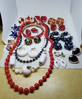 Vintage Lot 30 pc Patriotic USA Red White Blue Jewelry Pins Earrings 4th of July