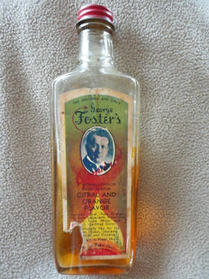 Fosters Imitation Citral & Orange Clear Bottle Paper Label 6.5 in tall Vintage
