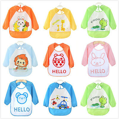 Baby Boy Girl Toddler Children Waterproof Long Sleeve Bib Art Apron Smock FG