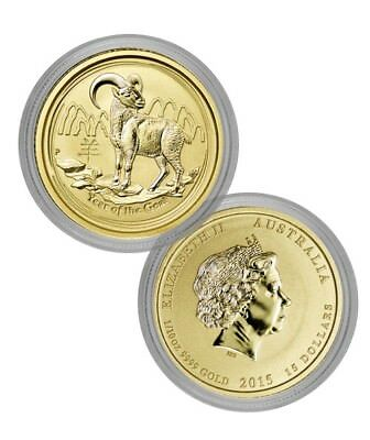 2015 Uncir. Perth Mint  Lunar Series II Year Of The Goat 1/10 Oz Gold Coin .9999