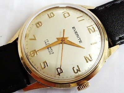Vintage Everite 17 Jewels Swiss Made Hand winding Gent Dress watch, Working