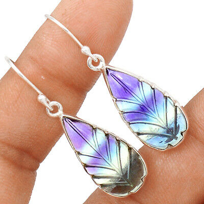 Hand Carving - Rainbow Flourite 925 Sterling Silver Earrings Jewelry EE143402