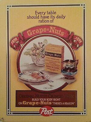 Vintage Post Grape Nuts Cereal Replica Tin Advertisement Box
