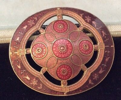 Vintage Jewellery Gorgeous Very Pretty Signed Cloisonné Enamel Brooch