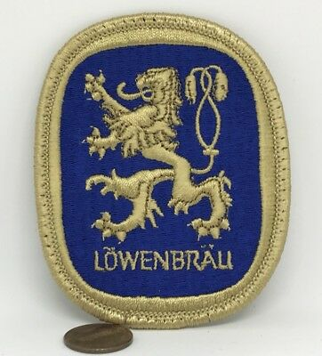 """VINTAGE*LOWENBRAU BEER EMBROIDERED IRON ON PATCH*3.5""""x2.75"""""""