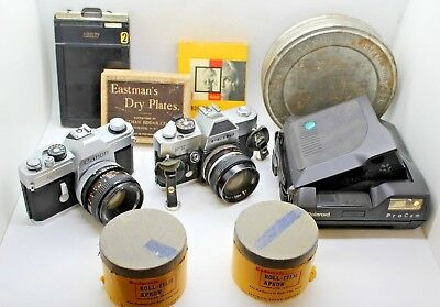 Vintage Film and Polaroid Film Camera and Accessory Lot Canon Petri Kodak more