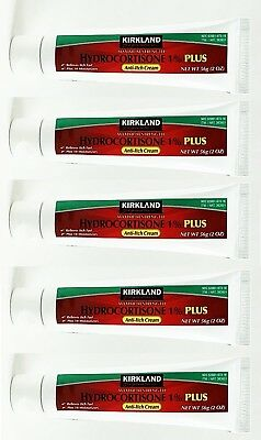 KIRKLAND 1% PLUS HYDROCORTISONE AntiI-Itch Rash Relief Cream 2 oz x 5