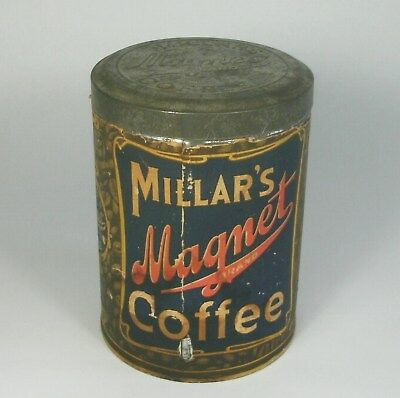 w Antique MILLAR'S MAGNET BRAND COFFEE TIN w/PAPER LABEL & LID 1 Lb Can