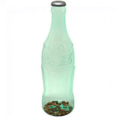 Authentic Coca-Cola Coke Large Green Tint Bottle Coin Bank 20inc New