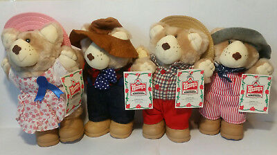 "Wendy's 1986 Set of 4 Furskin Bears Holiday Special NEW with Tags 7"" Plush Dolls"