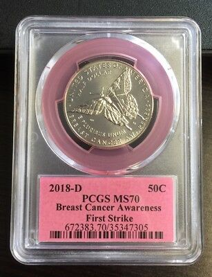 Pcgs Ms70 First Strike 2018~D Breast Cancer Awareness Commemorative Half Dollar.