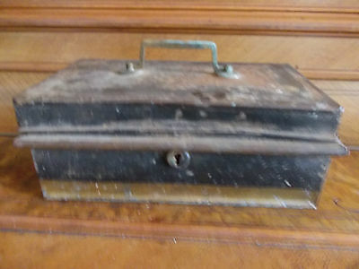 Vintage Metal Cash Tin With Internal Tray , No Key