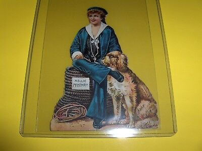 VINTAGE VICTORIAN TRADE CARD NELLIE McHENRY QUEEN OF COMEDIENNES, DIE CUT