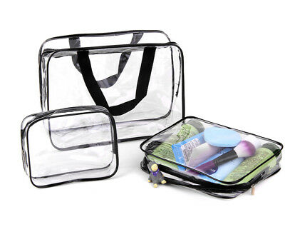 3Pcs Transparent Cosmetic Bag Women Travel Make up Toiletry Bags Makeup Handbag