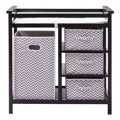 Baby Infant Changing Table with 3 Basket Hamper Home Diaper Storage Nursery US