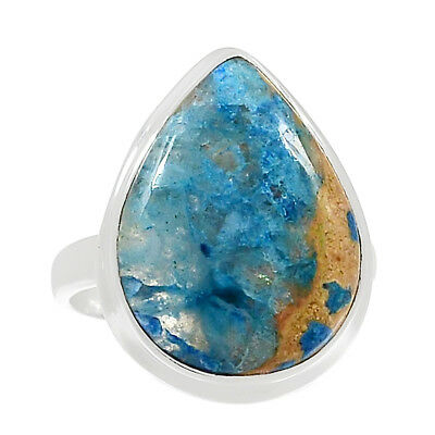 Lightning Azurite With Quartz 925 Sterling Silver Ring Jewelry s.9.5 RR171391