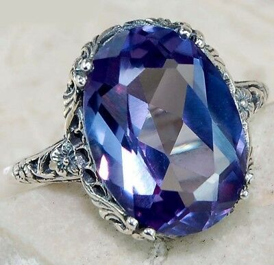 5CT Color Changing Alexandrite 925 Sterling Silver Filigree Ring Jewelry Sz 9
