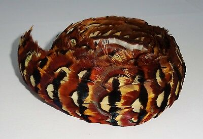 Vintage Hawaii Brown & Black Pheasant Feather Lei Hat Band 26 inches (Mod)