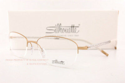 26d9395b35 New Silhouette Eyeglass Frames Illusion Nylor 4453 6053 Gold Women Size 52