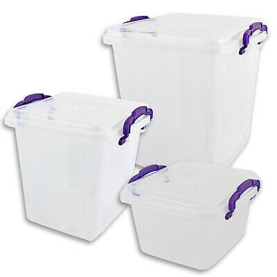 Box with Lid & Purple Handles Transparent Various Sizes Storage Box
