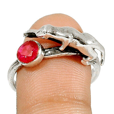 Panther - Ruby 925 Sterling Silver Ring Jewelry s.8.5 RR170774