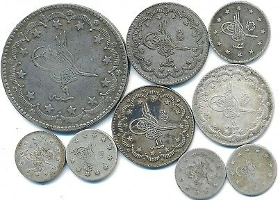 9 Old Silver Coins From Turkey 1870-1903