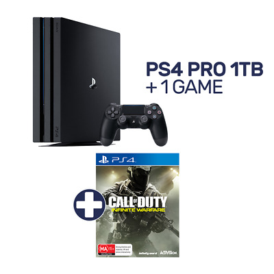 PlayStation 4 Pro 1TB Black Console + 1 Game - PlayStation 4 - BRAND NEW