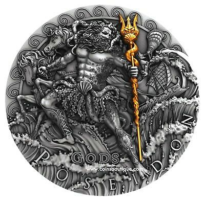 POSEIDON 2oz ULTRA HIGH RELIEF SILVER COIN NIUE 2018 gilded 24K