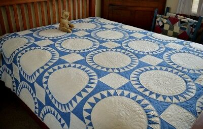 Antique Hand Stitched Wheel of Fortune Quilt