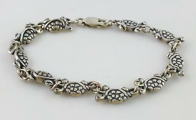 Turtle Textured Sterling Silver Link Chain Bracelet  6.5""