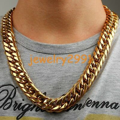 316L Stainless Steel Mens Gold Curb Cuban Chain Heavy Necklace Bracelet 18MM