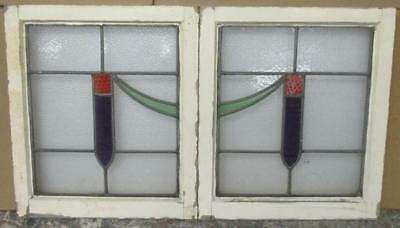 "PAIR OF OLD ENGLISH STAINED GLASS WINDOWS Pretty Unique 18.25"" x 21"""