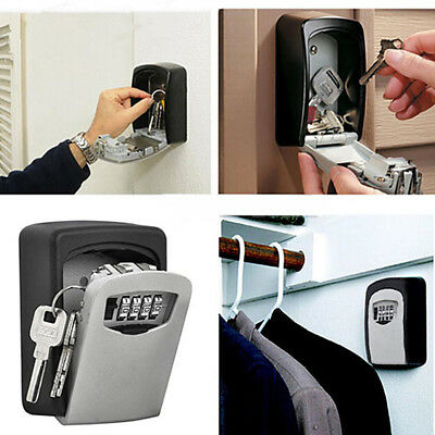 Digit Wall Mount Box Safe Security Lock Storage Mini 4 Combination Outdoor Key