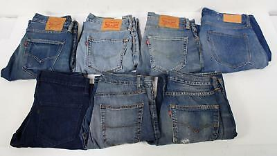 Premium Denim Lot of 7 Pair Straight Relaxed Taper Stretch Mens Jeans