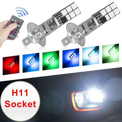 2x H1 5050 RGB 12SMD LED Auto Car Headlight Fog Bulb Lamp Light Remote Control