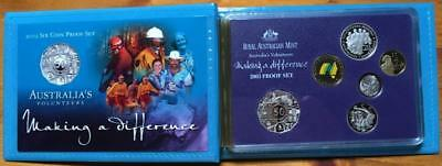 2003 6 Coin Proof Set..australia's Volunteers..making A Difference.