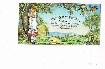 VICTORIAN ADVERTISING / TRADE Card    AYER'S CHERRY PECTORAL  -  LOWELL, MA