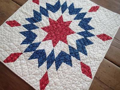 Patriotic Americana! Antique c1880 Red White & Blue Star Table or Doll QUILT