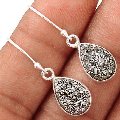 Platinium Aura Druzy 925 Sterling Siver Earring Jewelry EE137649