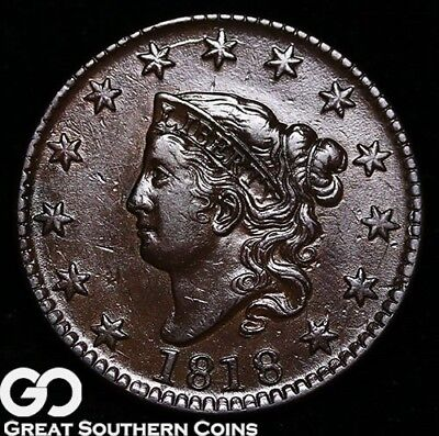 1818 Large Cent, Coronet Head, Very Nice Choice Uncirculated++ Early Copper!