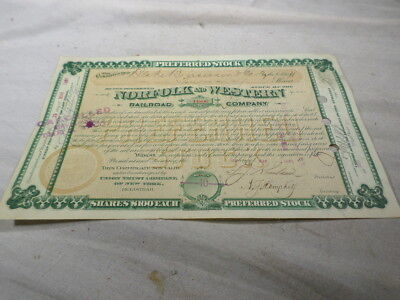 Norfolk and Western Railroad Company Stock Certificate 10 Shares