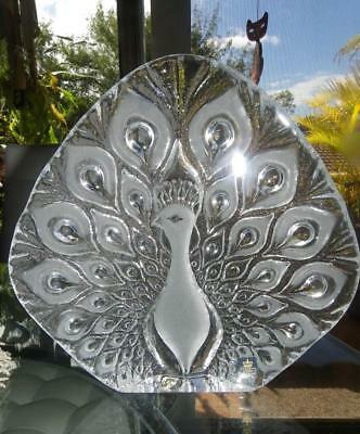 Royal Krona Art Glass - Large Peacock Full Lead Crystal Sculpture Made in Sweden
