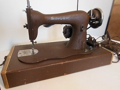 Singer Fiddle Base Sewing Machine with Electric Motor