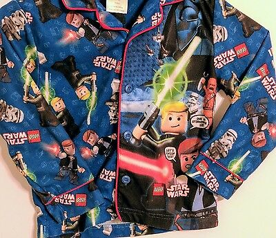 Boys Sz 6 Kid Child Lego StarWars Pajama Shirt Long Sleeve button up loungewear